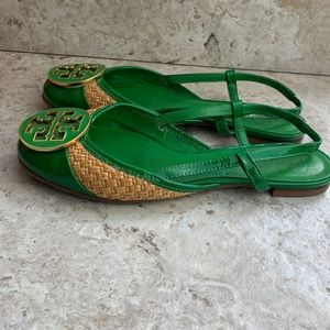 Tory Burch Green And Straw Slingback Flats